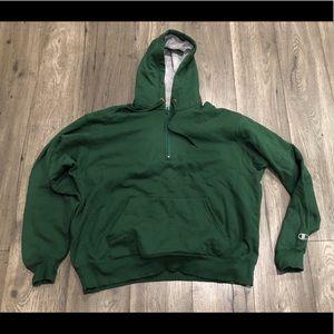 Champion Hooded Half Zip Sweatshirt in Green